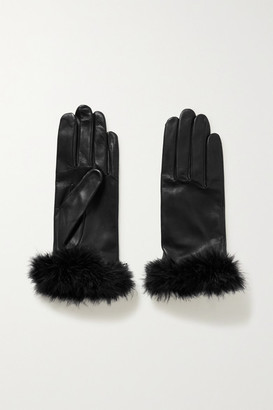 Agnelle Boa Feather-trimmed Leather Gloves - Black