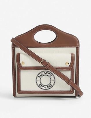 Burberry Pocket mini logo-print canvas and leather top-handle bag