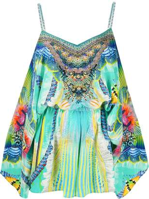Camilla Reef Warrior-print silk playsuit