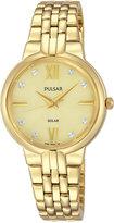 Pulsar Women's Solar Dress Gold-Tone Stainless Steel Bracelet Watch 29mm PY5026
