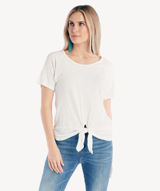Sanctuary Women's Lou Ruched Tie Tee In Color: White Jasmine Size XS From Sole Society