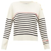 Valentino Logo-bead Stripe-knit Wool Sweater - Womens - Ivory Multi