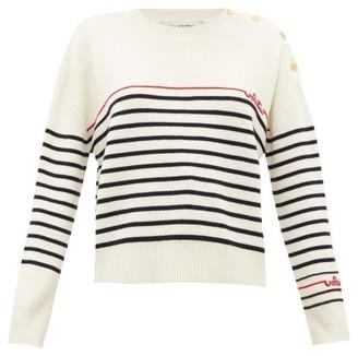 Valentino Beaded-logo Striped Wool Sweater - Womens - Ivory Multi