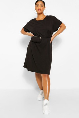 boohoo Jersey T-Shirt Dress With Body Bag