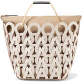 Marni Tricot Woven Leather And Canvas Tote - White