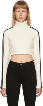 we11done White and Black Wool Crop Logo Stripe Turtleneck