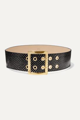 Black & Brown Printed Elaphe Waist Belt - 65