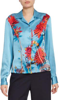 Dries Van Noten Dahlia Floral-Print Satin Button-Front Blouse