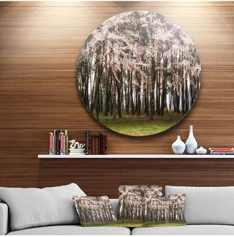 "Designart 'Cherry Blossoms In Pine Tree' Landscape Round Circle Metal Wall Art - 23"" x 23"""