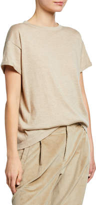 Brunello Cucinelli Crewneck Short-Sleeve Cashmere/Silk Metallic Tee