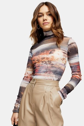 Topshop Womens Petite Landscape Print Funnel Neck Top - Multi