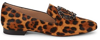 Karl Lagerfeld Paris Noor Leopard-Print Calf Hair Loafers