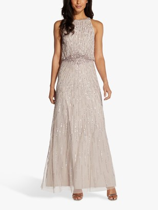 Adrianna Papell Beaded Blouson Maxi Gown, Marble