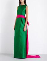 Oscar de la Renta Oversized-bow fitted satin gown