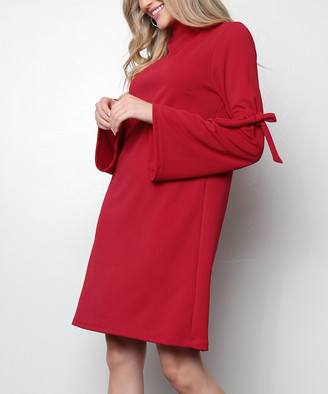 Milly Penzance Women's Casual Dresses red - Red Tie-Sleeve Shift Dress - Women & Plus