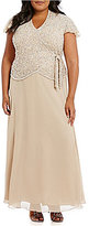 J Kara Plus Short-Sleeve Beaded Mock 2-Piece Gown