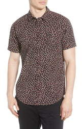 RVCA Micro Floral Short Sleeve Button-Up Shirt