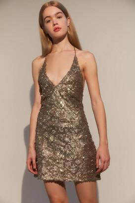 Motel Sequin Backless Slip Mini Dress