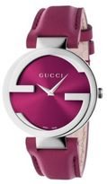 Gucci Interlocking Stainless Steel & Leather Strap Watch/Pink