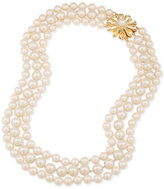 Carolee Gold-Tone Flower & Imitation Pearl Triple-Row Necklace