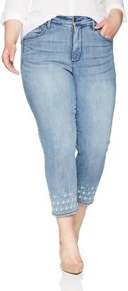 NYDJ Women's Plus Size Sheri Slim Ankle with Palm Dot Embroidery