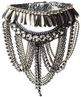Deepa Gurnani Hand Embroidered Faceted Crystals and Metal Chain Statement Gun Cuff of Length 18 cm