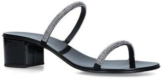 Giuseppe Zanotti Leather Crystal Roll Sandals 40