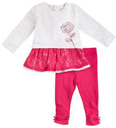 Petit Lem Baby Girls Pretty Lace Two-Piece Tunic and Leggings Set