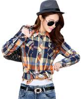 OCHENTA Women's Thicken Lining Classic Plaid Winter Warm Shirt Asian 2XL - US L