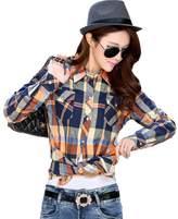 OCHENTA Women's Thicken Lining Classic Plaid Winter Warm Shirt Asian L - US S