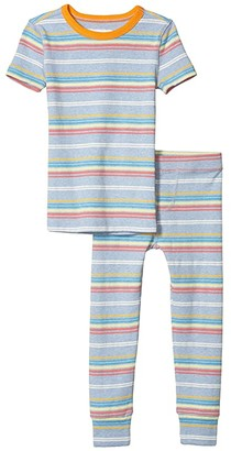 crewcuts by J.Crew Stripe Short Sleeve Sleep Set (Toddler/Little Kids/Big Kids) (Blue/Yellow Multi) Boy's Pajama Sets