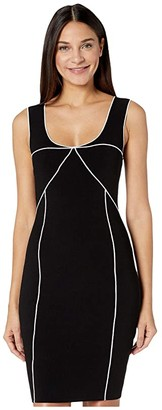Milly Piped Dress (Black/White) Women's Clothing