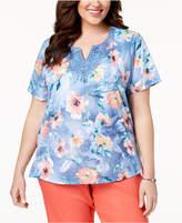 Alfred Dunner Plus Size Sun City Floral-Print Lace-Applique T-Shirt