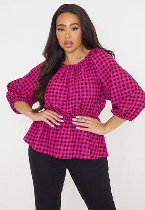 Missguided Plus Size Pink Check Ruched Peplum Top