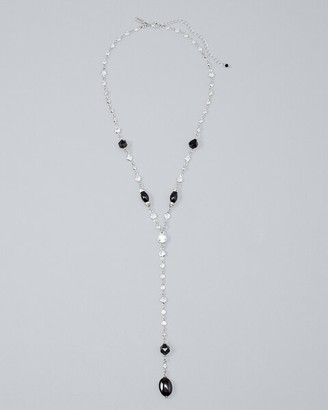 Chicos Black Agate Station Y-Necklace