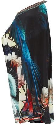 Camilla Night Flight One-shoulder Silk-chiffon Kaftan - Womens - Black Print
