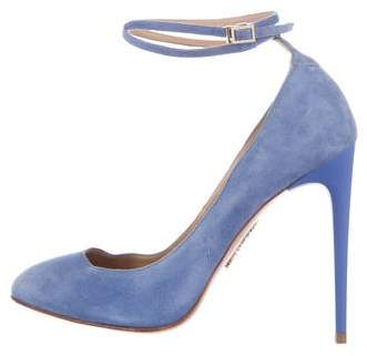 Aquazzura Suede Round-Toe Pumps
