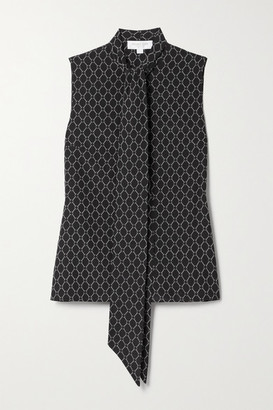Michael Kors Collection Pussy-bow Printed Silk Blouse - Black