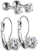 Charisma Charismas Stainless Steel Cubic Zirconia Leverback Earrings Cartilage Helix Stud Earrings 2 Pairs Set (Steel)