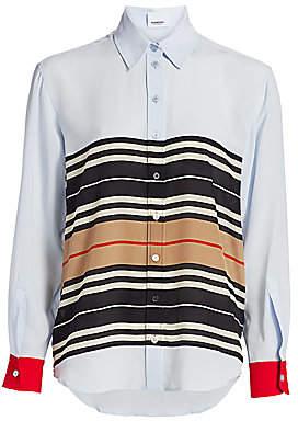Burberry Women's Alexia Icon Stripe Silk Blouse - Size 0