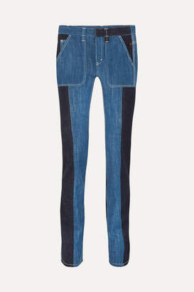 Chloé Two-tone High-rise Straight-leg Jeans - Navy