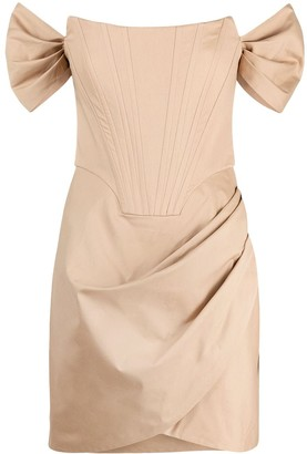 Giuseppe di Morabito Ruched-Detail Off-Shoulder Mini Dress