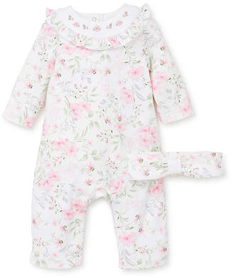 Little Me Girls' Coveralls Pink - Pink & White Floral Ruffle-Trim Playsuit & Knot Soft Headband - Infant