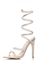 Quiz Silver Diamante Spiral Heel Sandals