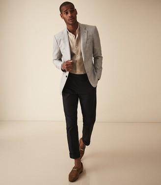 Reiss Lift - Wool Linen Tailored Blazer in Soft Grey