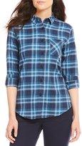 Pendleton Blue Plaid Cotton Flannel Boyfriend Shirt