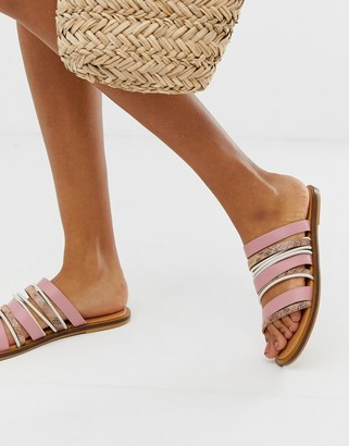 Asos Design DESIGN Fitchy leather multi strap mules