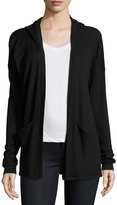 Splendid Waffle-Knit Thermal Open-Front Cardigan, Black