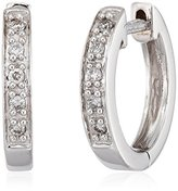 """KC Designs Charmed Life"""" Diamond 14k White Gold Mini Hoop Earrings"""