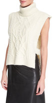 Isabel Marant Sleeveless Open-Side Cable-Knit Turtleneck Sweater, Ecru